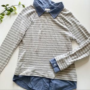 Soft Joie Layered Collar Striped Sweater